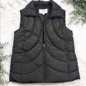 Nine West Dark Brown Quilted Stitch Vest